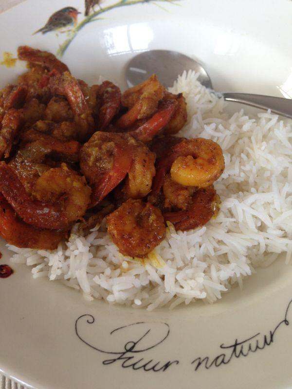 surinaamse garnalen met rijst